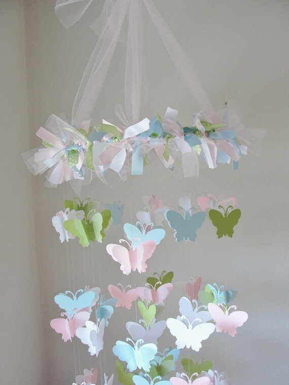 Chandelier Multi colored Butterfly Mobile