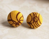 Button Earring Studs - Yellow with Brown Swirls - Bright Covered Button