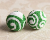 Swirl Earring Studs - White Swirls on Green Background - Fabric Covered Button Earrings