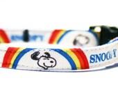 "Breakaway Cat Collar - Vintage Snoopy Rainbow Ribbon - 3/8"""