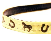 """Breakaway Cat Collar - Cowboy Western - 3/8"""" - Pale yellow and brown"""