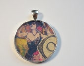Altered Art Victorian College Pendant in Bright Silver Bezel and Epoxy Resin