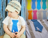 Get The Set - Bunny Boy Tie Onesie or Shirt with Suspenders with Crocheted Hat - Size NB to 12 years - Pick your colors