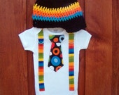 Get the Set Dr Seuss Cat in the Hat Boys Tie Onesie or Shirt with Suspenders and Crocheted Hat - nb to 12 Years- Or PICK YOUR OWN
