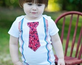 Patriotic Boy Tie Onesie and Suspender Bodysuit . Any Tie. Size NB to 12 Yrs. July 4th, Presidents Day, Red White and Blue