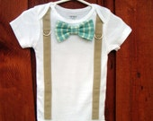 Baby Boy Bowtie & Suspender Onesie or shirt- Blue and Green Plaid - NB to 12 Years - or pick your own