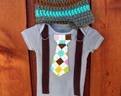 Grey and Argyle Baby Boy Tie Onesie or Shirt with Brown Corduroy Suspenders and Crocheted Hat - Size nb to 12 yrs