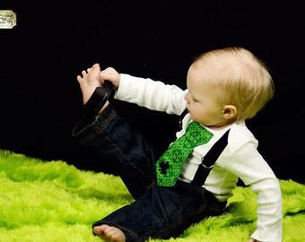 St. Patricks Day Baby Boys Black and Green Tie Bodysuit with Suspenders, Lucky Charm, Patricks Day Photo Prop