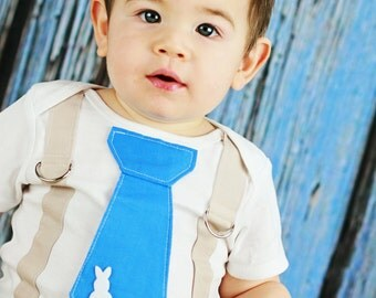 Baby Boy Easter Tie Bodysuit with Suspenders  - Pick your colors - Bunny tie, Boys Easter, Tie and Suspender