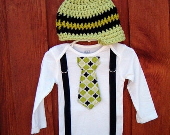 Baby boy, Get the Set Boys Black and Green Tie Bodysuit or Shirt with Suspenders with Hat - St Patricks Day - Irish - Photo Prop
