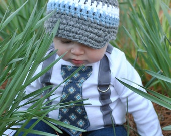 Blue Boy Tie Bodysuit or T Shirt with Suspenders - or pick your own colors