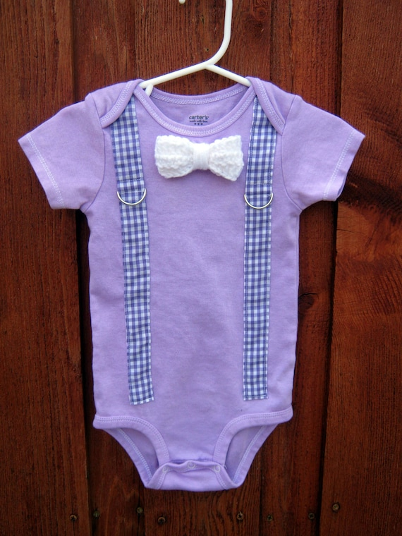 Purple Crochet Bow Tie Onesie or Shirt with Gingham Suspenders - Size NB to 12 years