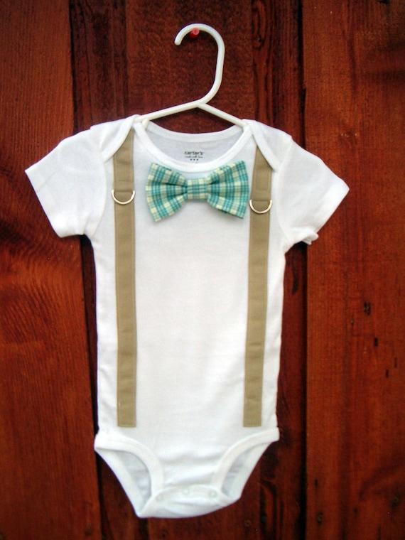 Baby Boy Bowtie Amp Suspender Onesie Or Shirt Blue And Green
