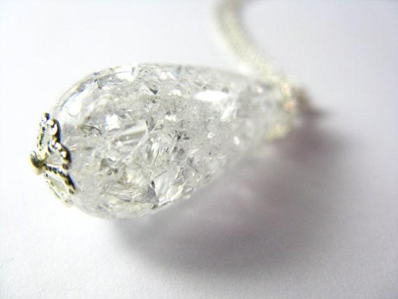 Tear drop cracked quartz necklace... pear shaped quartz.... bridesmaid necklace... formal jewelry