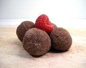 1/4 lb raspberry milk or dark chocolate truffles///handmade dotshoppe chocolate truffles///
