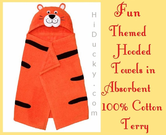 Children Hooded Towel JUMPING TIGER Includes FREE Embroidered Name Cotton Towel Boy Girl Toddler Beach Towel Bath Baby Jungle Tiger Paws Cat