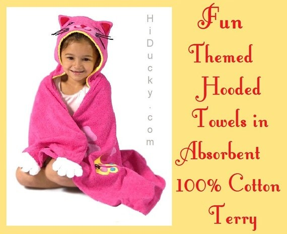 Hooded Towel SWEET KITTY FREE Embroidered Name THiCK CoTToN VELoUR Towel Girl Toddler Towel Beach Towel Bath Kitten Cat  Mouse Pet TowelKid