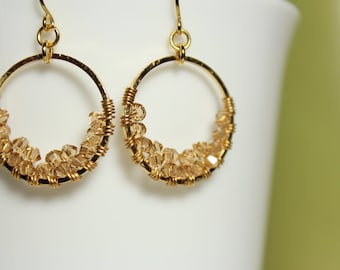 Wirewrapped Light Colorado Topaz Swarovski Crystal Gold Circular Hoop Earrings