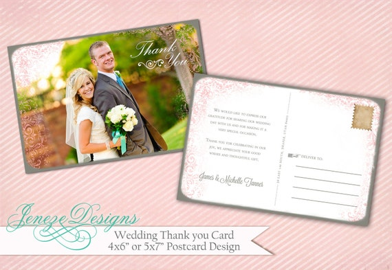 Wedding Thank You Card Template - Item TC001
