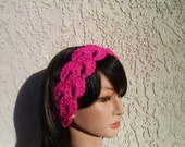 Spring summer lace headband in shocking pink - winter