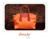 100% genuine orange cow leather handbag ll ready to ship item