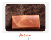 100% genuine cow light brown vegetable tanned leather long wallet ll ready to ship item