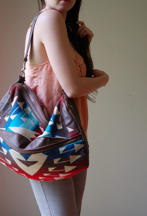 SEE SALE CODE- Pendleton and re-purposed brown leather hobo-  The Buena Vista Social Bag