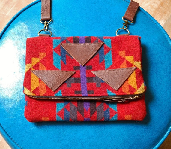 sale- Red Pendleton and brown leather foldover clutch- The Marquesa bag