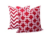 Red Pillow Chevron Pillows 20 x 20 Throw Pillow covers  Red and White Chain Set of TWO ZigZag 20x20 inch Printed fabric both sides.