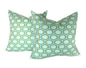 Decorative Pillow Aqua Orange Yellow Honeycomb TWO 18x18 Covers