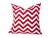 Red Pillow .18x18 Pillow Cover .Chevron Pillow .Printed Fabric Both Sides. Cushions .Housewares. Home Decor Red Chevron - EastAndNest