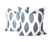 Ikat Pillows.Grey Pillow.Decorative Throw Pillows. Gray Ikat Pillow.18x18inch.Printed Fabric both sides Cushion.Housewares