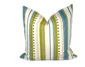 Decorative Pillows Blue Cream and Green Stripe ONE 18x18 Cover