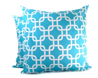Decorative Throw Pillow Covers. 18x18 inch .Blue Pillows. Blue and White. Printed Fabric on Both sides Throw pillow sets. cushion Covers