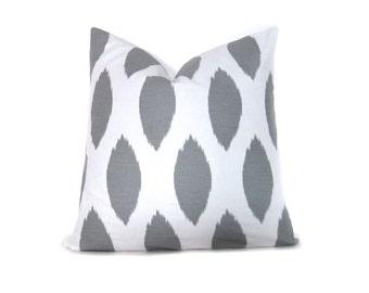Decorative Pillow Gray Ikat. Throw Pillow Covers 20x20. Decorative Throw Pillow ONE 20x20 Printed fabric front and back