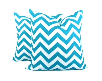Chevron Pillow Covers Aqua Blue Pillow Blue Pillow Blue Chevron Pillows 20x20 Throw Pillow Covers Light Blue Printed Fabric both sides