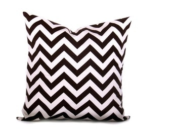 EURO PILLOW.26x26. Euro Pillow Sham. Euro Pillow cover. Chevron.Decorator Pillow Cover.Printed Fabric both sides.Chocolate Brown