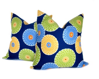 Decorative Throw Pillows Throw Pillow covers 18x18 Indoor Outdoor Pillow Blue green Pillow  TWO 18x18 Print on Front and Back
