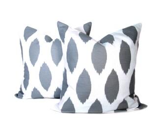 Grey Ikat Pillows. Ikat Pillows.Throw Pillow Sets.Decorative Throw Pillows. 20x20 inch pillows.Printed Fabric on Front and back