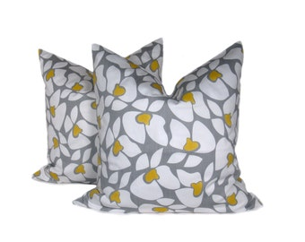 Decorative Throw Pillows Yellow Gray Pillow Throw Pillow Covers 18x18 Home Decor Housewares Cushion Covers Printed Fabric both sides
