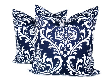 Decorative Throw Pillows  Blue Pillow.16x16 inch Dark Blue Pillow .Navy Blue Pillow Cover Housewares Printed fabric both sides