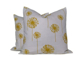 YELLOW PILLOW Decorative Throw Pillow Covers Accent Pillows Dandelion Pillow TWO 16x16 Cushion Covers Printed Fabric both sides Housewares