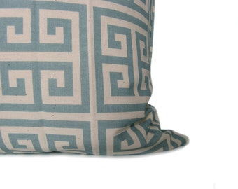 Light Blue Pillow Cover Decorative throw Pillows 16x16 Greek Key .Cushion Covers.Printed Fabric both sides.Housewares.