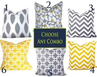 Grey Yellow Pillows.Euro Shams.Euro Pillow Covers ONE 26x26. Chevron.Ikat.Floor cushions.Floor Pillows Printed fabric both sides