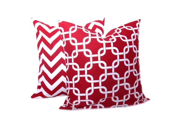 Red And White Throw Pillow Covers : Red Pillow Chevron Pillows 20 x 20 Throw Pillow by EastAndNest