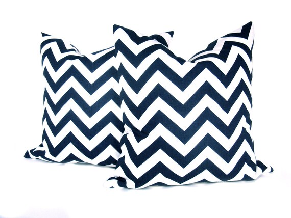 Navy Blue Pillow Chevron Pillow Cover 16x16 inch Zig Zag  Dark Blue Pillow Navy and White Decorative Throw Pillow Printed fabric both sides