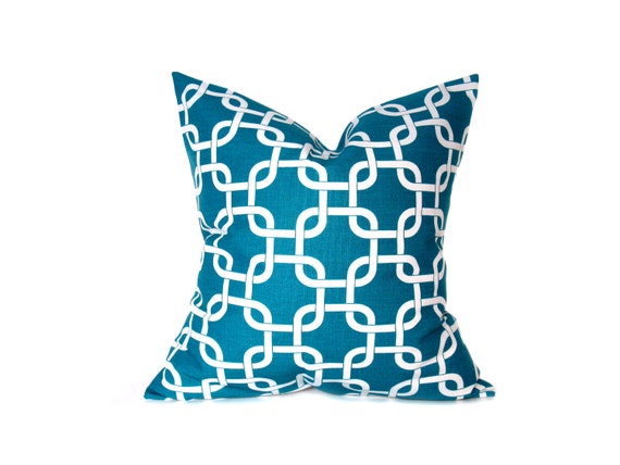 Throw Pillow Cover 18x18 Turquoise Pillow Aqua Blue Pillow Chain Decorator Pillow Cover Decorative Throw Pillow Printed Fabric both sides