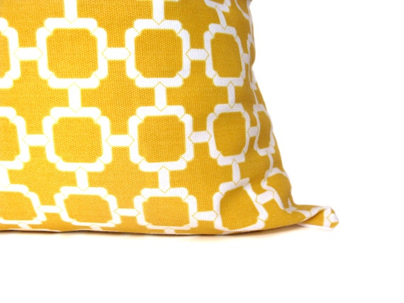 Yellow Pillow Decorative Yellow Pillows Yellow White 16x16 Pillow  Mustard Yellow Pillow Bright Yellow Printed Fabric both sides