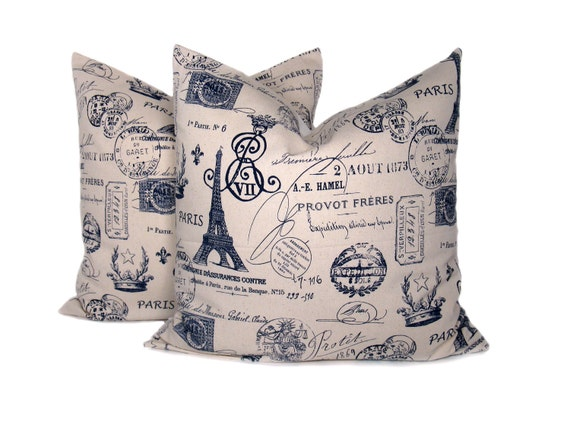 Items similar to 20 x 20 Throw Pillow Covers Blue and Cream Pillow Navy Pillow French Decor ...