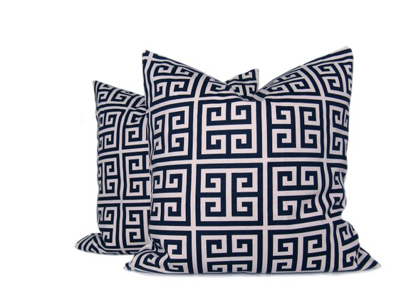 Blue Geometric Pillow  Navy and Natural Cream Greek Key  Decorator Pillow   Set of 2 20x20  Covers